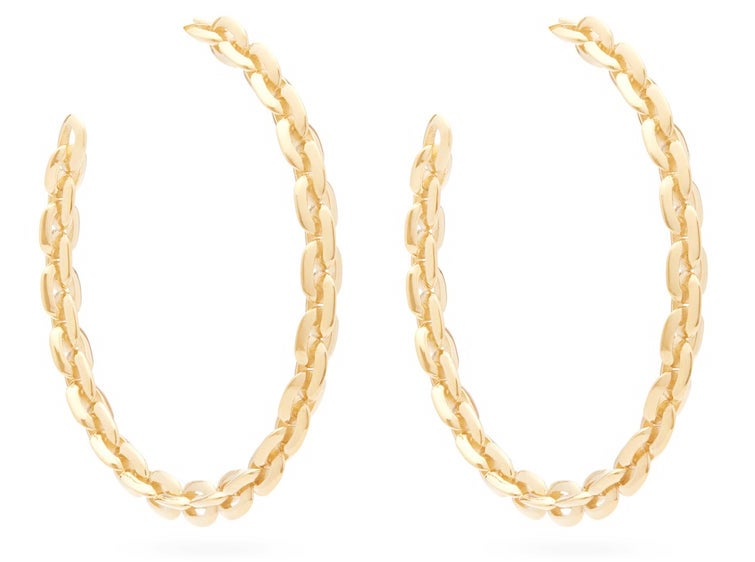 Lizzie Mandler 18ct Gold Knife Edge Large Hoop Earrings, $3,850