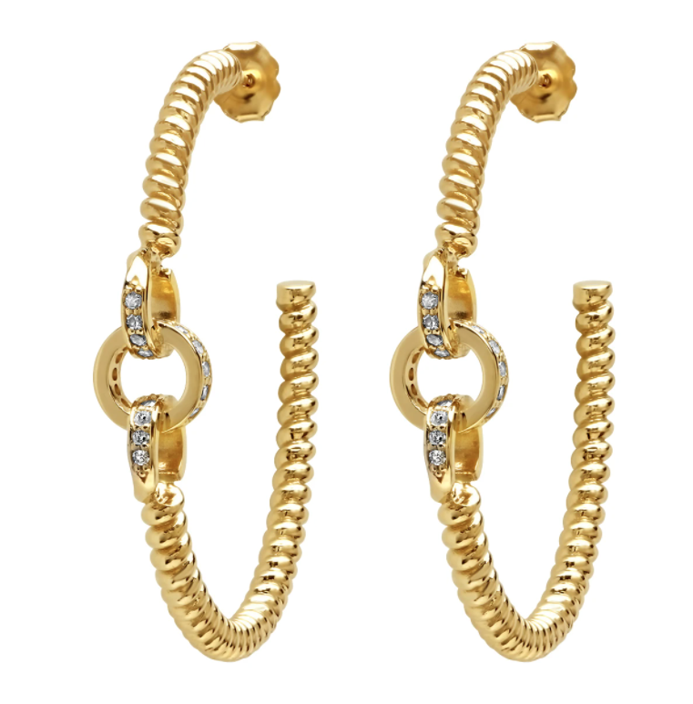 Nancy Newberg 14K Yellow Gold and Diamond Link Twist Hoops, $3,600