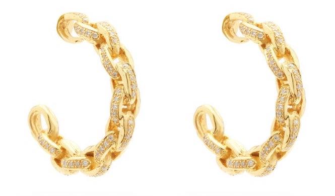 Patcharavipa Diamond and Gold Chain Hoop Earrings, $4,794