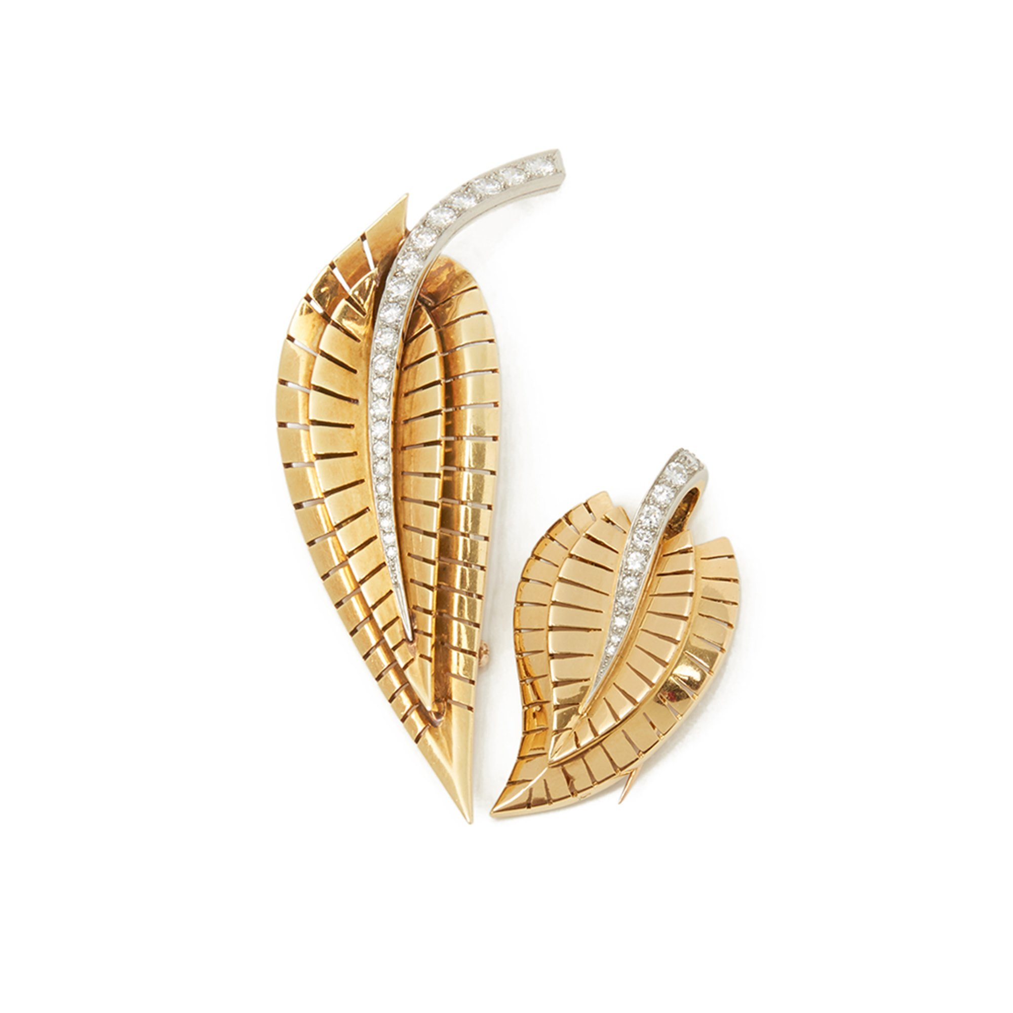 18k-Yellow-Gold-Diamond-Vintage-Brooches-Van-Cleef-Arpels