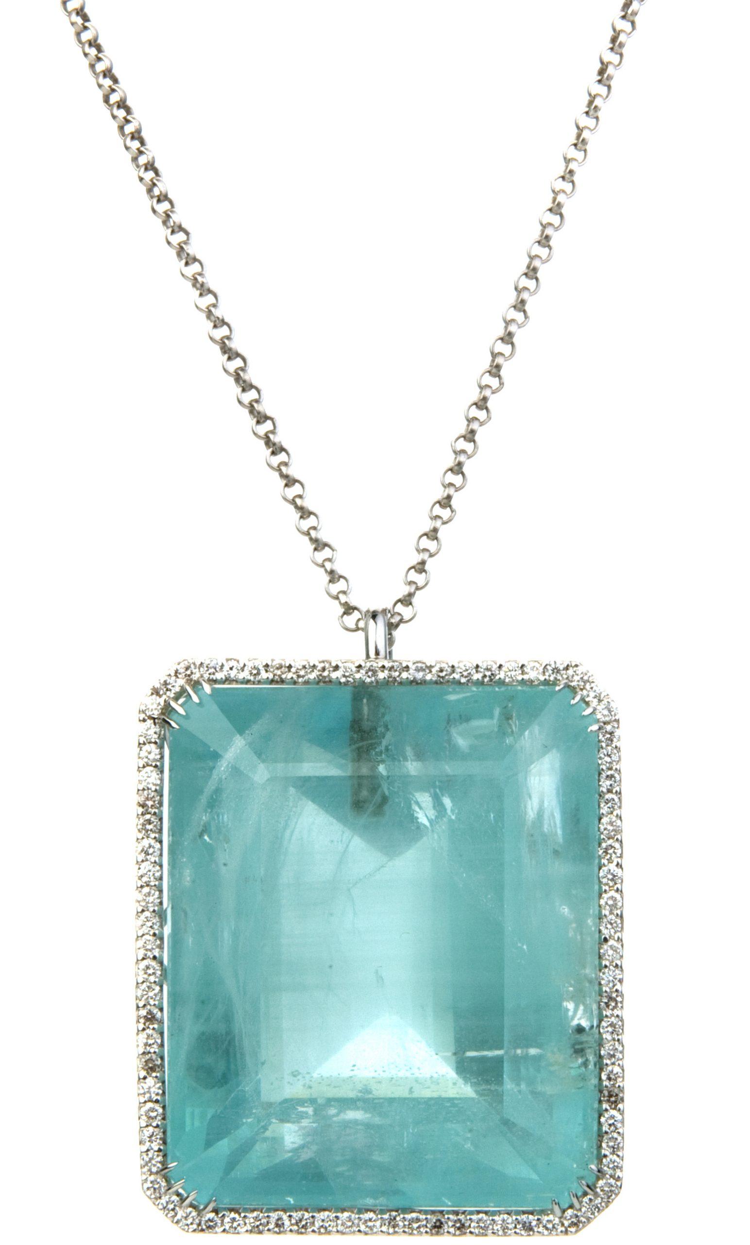 Kimberly McDonald 150ct Aquamarine Pendant with 1.55cts Diamond Bezel in 18k White Gold on Platinum Chain with Black Rhodium