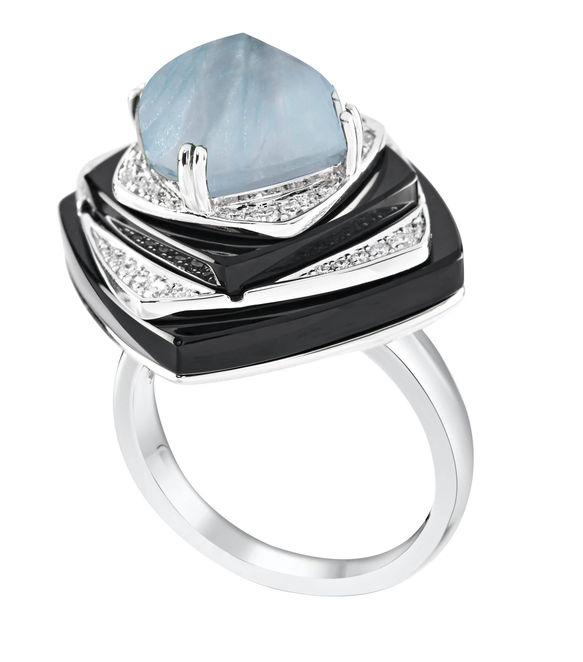 Nazar Layered Ring, Aquamarine