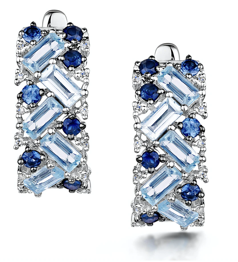 The Diamond Store Blue Topaz Sapphire & Diamond Stellato Earrings in 9K White Gold, £1,025