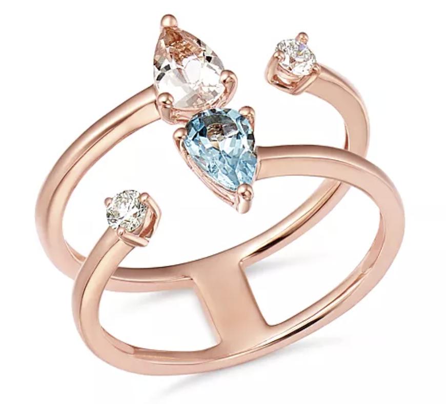 Bloomingdale's (100% Exclusive) Aquamarine, Morganite & Diamond Ring in 14K Rose Gold, £1,433