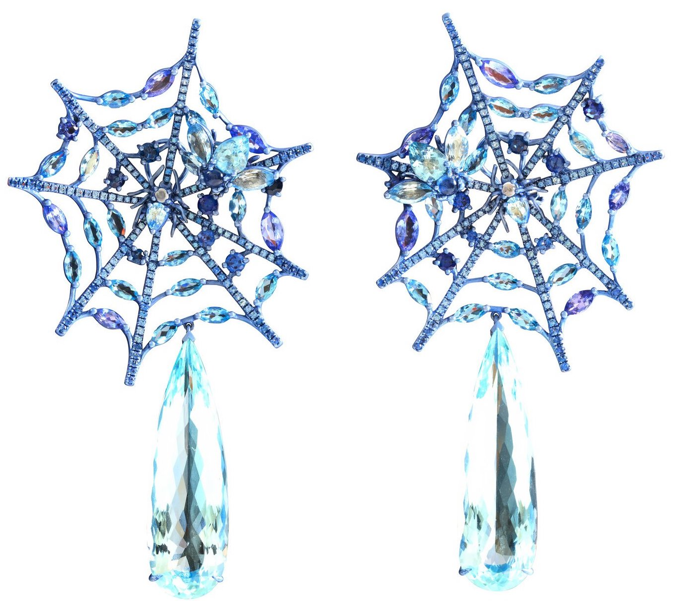 Lydia Courteille Aquamarine and Sapphire Spiderweb Earrings, $42,560