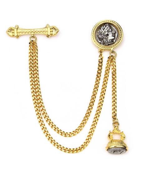 Ben-Amun-Double-Chain-Coin-Brooch