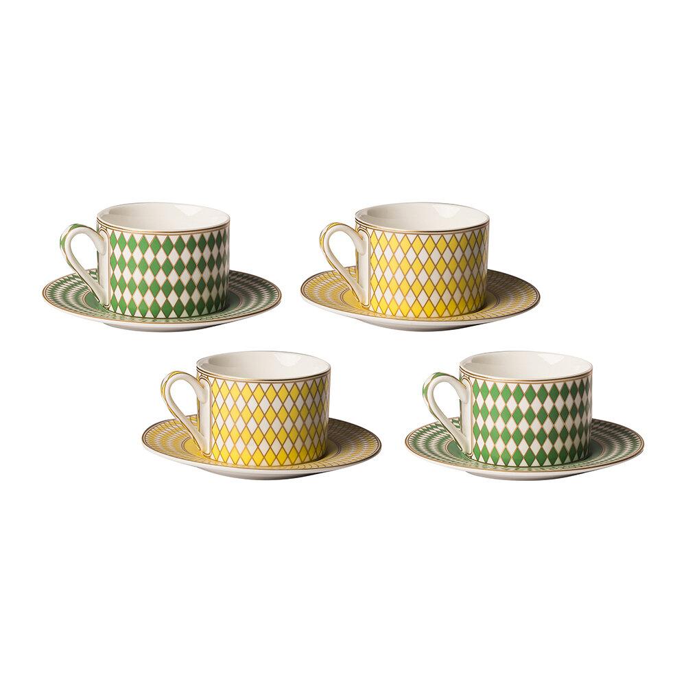 chess-tea-cup-saucer-set-of-4-yellow-green-246192